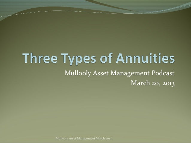 Mullooly Asset Management Podcast                         March 20, 2013Mullooly Asset Management March 2013