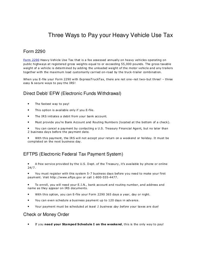 2290 form fee  Three ways to pay your heavy vehicle use tax