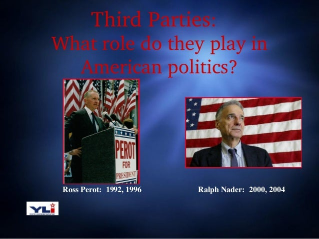 Third Parties:    What role do they play in  American politics?  Ross Perot: 1992, 1996  Ralph Nader: 2000, 2004