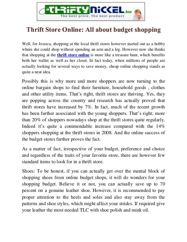 Thrift Store Online: All about budget shoppingWell, for Jessica, shopping at the local thrift stores however started out a...