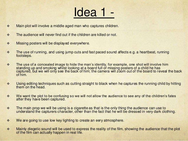 Thriller film ideas