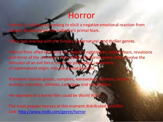 Thriller, rom com and horror presentation