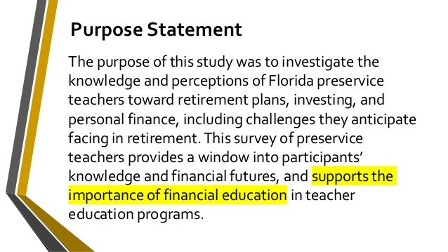 Keynote: Investing and Retirement Knowledge and Preferences of Preservice Teachers Slide 2