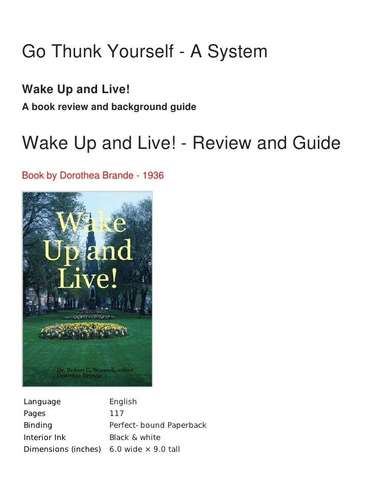 Wake up and live dorothea brande
