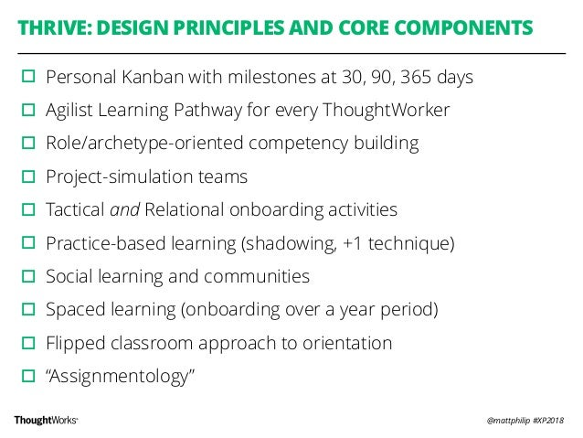 @mattphilip #XP2018 THRIVE: DESIGN PRINCIPLES AND CORE COMPONENTS ▫︎Personal Kanban with milestones at 30, 90, 365 days ▫︎...