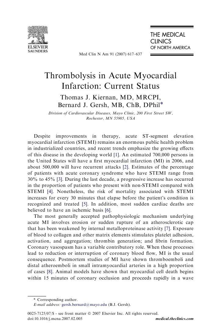 Med Clin N Am 91 (2007) 617–637              Thrombolysis in Acute Myocardial              Infarction: Current Status     ...