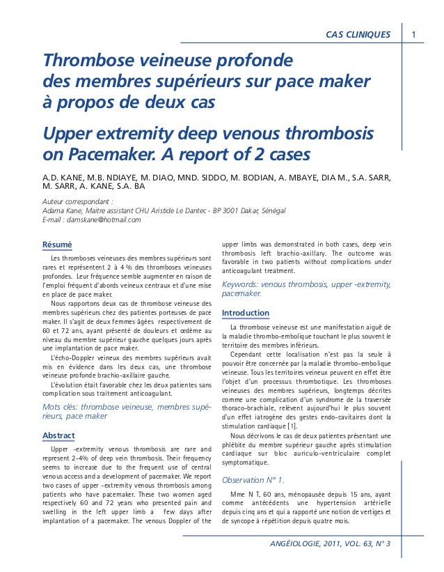 CAS CLINIQUES  Thrombose veineuse profonde des membres supérieurs sur pace maker à propos de deux cas Upper extremity deep...