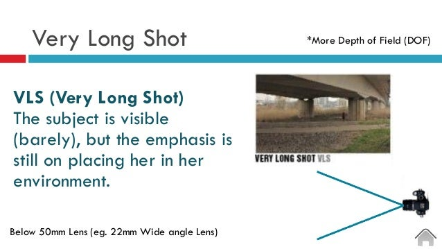 Very Long Shot  VLS (Very Long Shot) The subject is visible (barely), but the emphasis is still on placing her in her en...