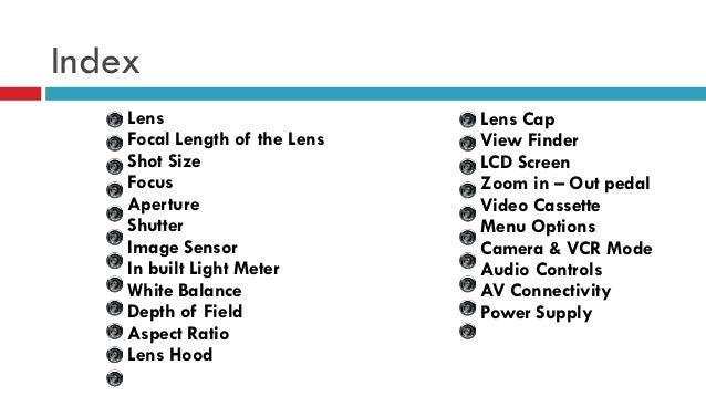 Index Lens Focal Length of the Lens Shot Size Focus Aperture Shutter Image Sensor In built Light Meter White Balance Depth...