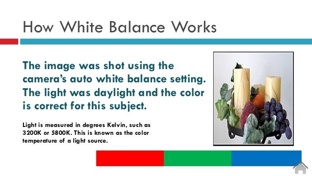 How White Balance Works The image was shot using the camera's auto white balance setting. The light was daylight and the c...