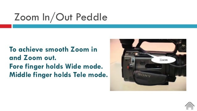 Zoom In/Out Peddle To achieve smooth Zoom in and Zoom out. Fore finger holds Wide mode. Middle finger holds Tele mode.