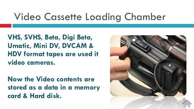 Video Cassette Loading Chamber VHS, SVHS, Beta, Digi Beta, Umatic, Mini DV, DVCAM & HDV format tapes are used it video cam...