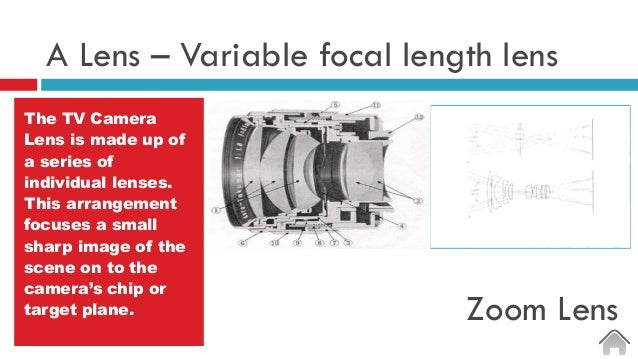 A Lens – Variable focal length lens The TV Camera Lens is made up of a series of individual lenses. This arrangement focus...