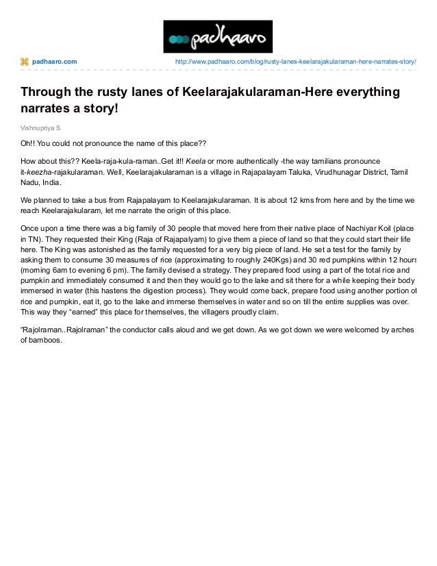 padhaaro.com  http://www.padhaaro.com/blog/rusty-lanes-keelarajakularaman-here-narrates-story/  Through the rusty lanes of...