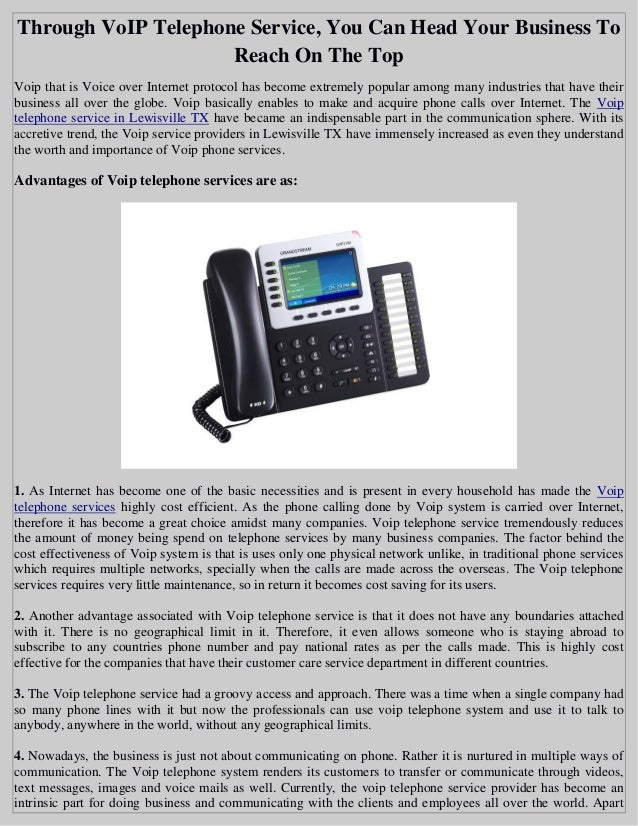 Through VoIP Telephone Service, You Can Head Your Business To Reach On The Top Voip ...