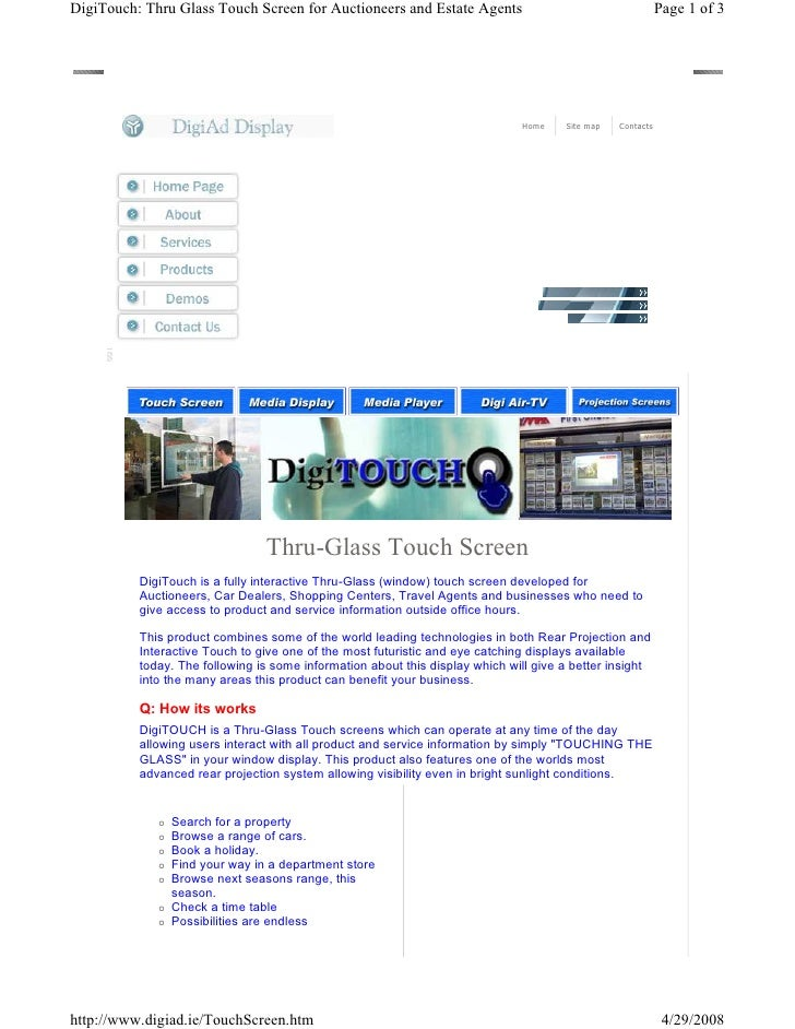 DigiTouch: Thru Glass Touch Screen for Auctioneers and Estate Agents                                        Page 1 of 3   ...