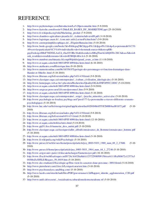 REFERENCE 1- http://www.psybernetique.com/Introduction/La%20personnalite.htm (5-9-2010) 2- http://www.factoche.com/dossier...