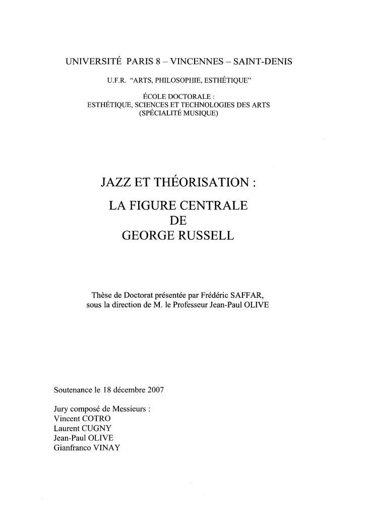 Frédéric  Saffar, Jazz et théorisation: la figure centrale de George Russell, Thèse Paris 8, 2007