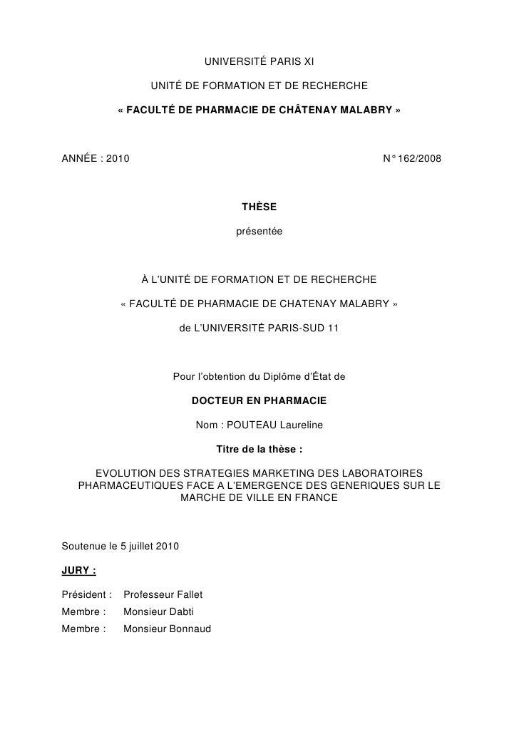 UNIVERSITÉ PARIS XI                     UNITÉ DE FORMATION ET DE RECHERCHE                « FACULTÉ DE PHARMACIE DE CHÂTEN...
