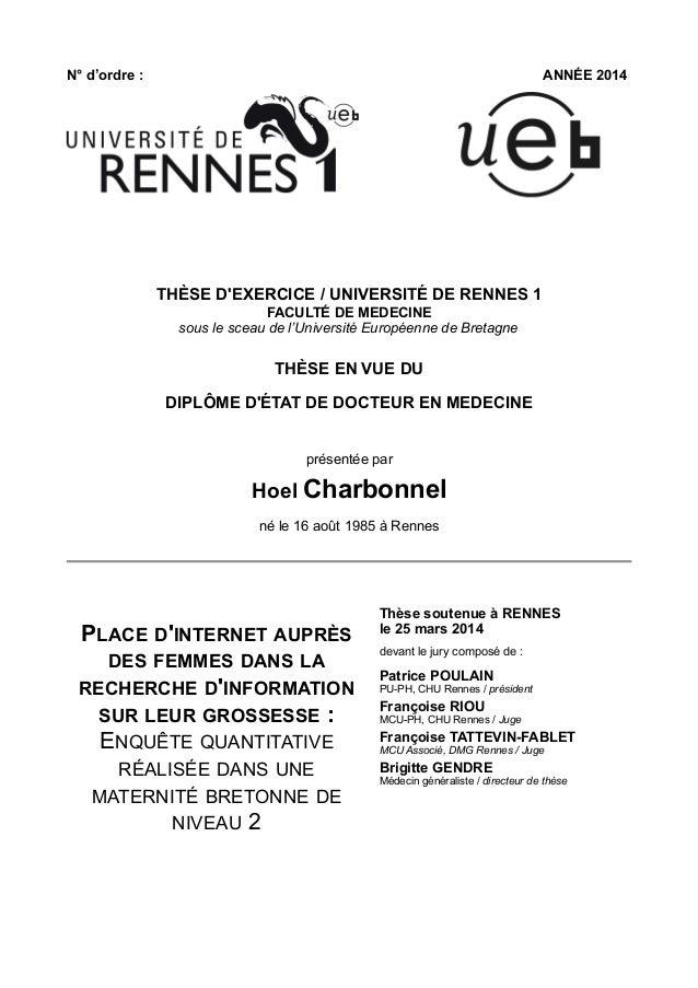 N° d'ordre : ANNÉE 2014 THÈSE D'EXERCICE / UNIVERSITÉ DE RENNES 1 FACULTÉ DE MEDECINE sous le sceau de l'Université Europé...