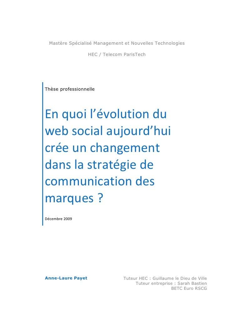 Mastère Spécialisé Management et Nouvelles Technologies                     HEC / Telecom ParisTech     Thèse professionne...