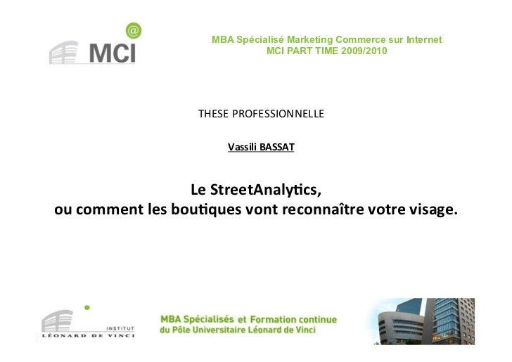 MBA Spécialisé Marketing Commerce sur Internet                                         MCI PART TIME 2009/2010            ...