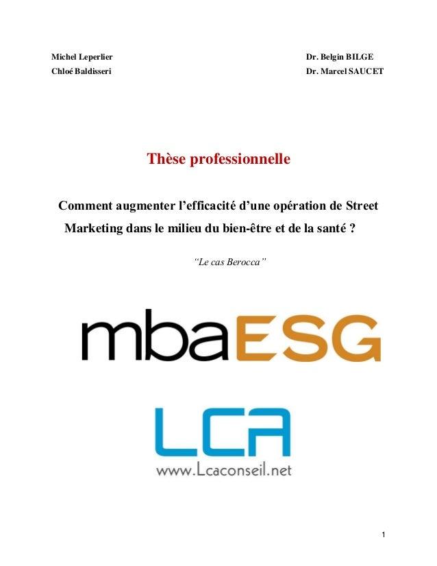 1 Michel Leperlier Dr. Belgin BILGE Chloé Baldisseri Dr. Marcel SAUCET Thèse professionnelle Comment augmenter l'efficacit...