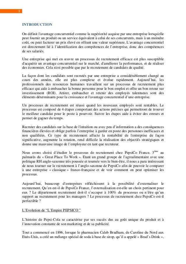 LECLERCQ Guillaume MARAMBIO Valeria PELISSIER David -  L'optimisation des processus de recrutement au sein de PepsiCo France Slide 3