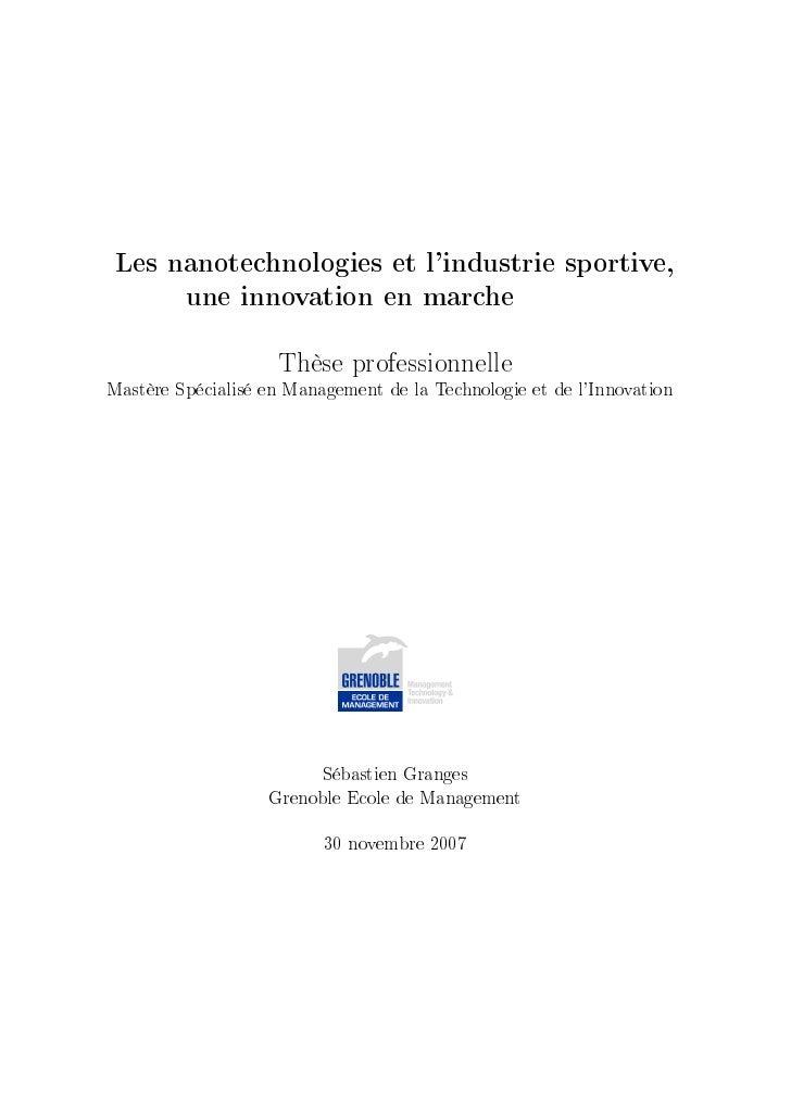 Les nanotechnologies et lindustrie sportive,         une innovation en marche                    Thèse professionnelleMast...