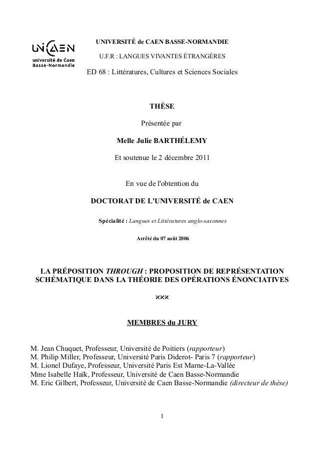 UNIVERSITÉ de CAEN BASSE-NORMANDIE U.F.R : LANGUES VIVANTES ÉTRANGÈRES �  ED 68 : Littératures, Cultures et Sciences Socia...