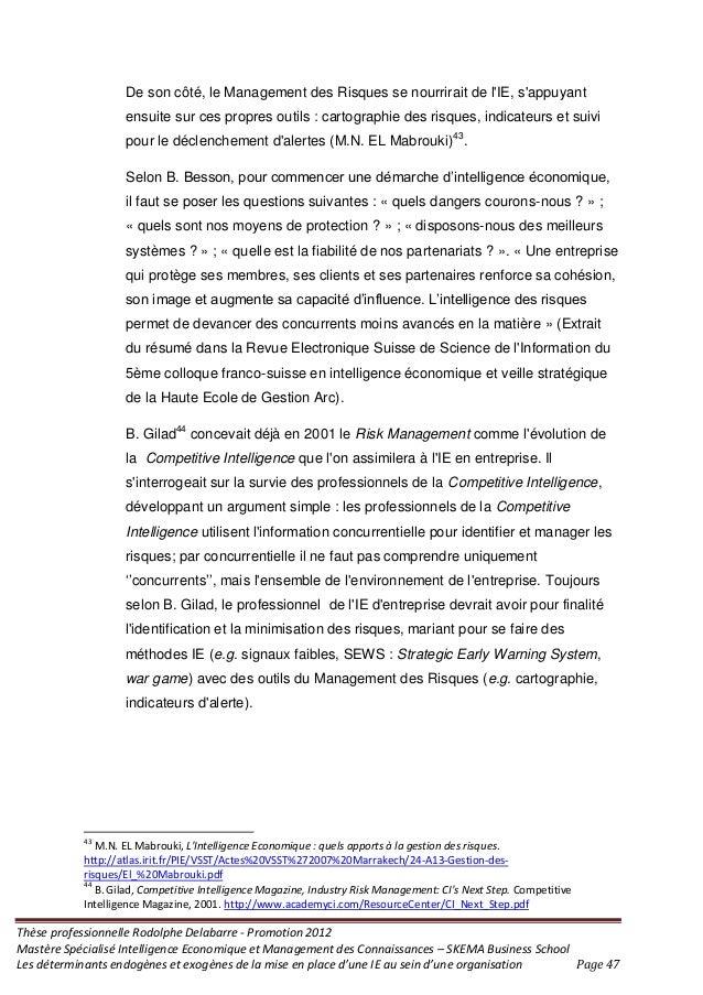 Thèse professionnelle Rodolphe Delabarre - Promotion 2012 Mastère Spécialisé Intelligence Economique et Management des Con...