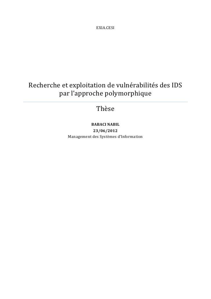 EXIA.CESIRecherche et exploitation de vulnérabilités des IDS         par l'approche polymorphique                         ...