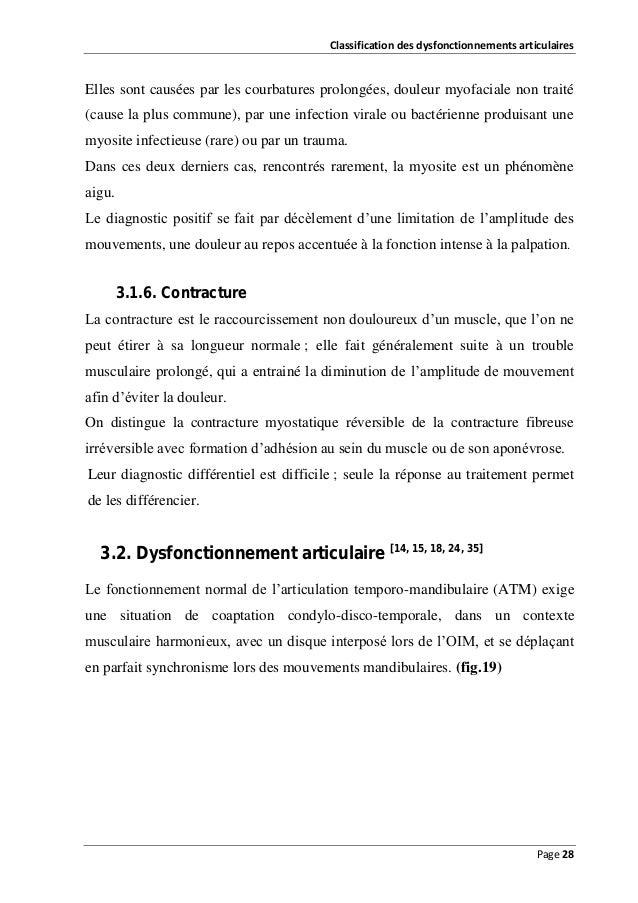 Classification des dysfonctionnements articulaires  Elles sont causées par les courbatures prolongées, douleur myofaciale ...