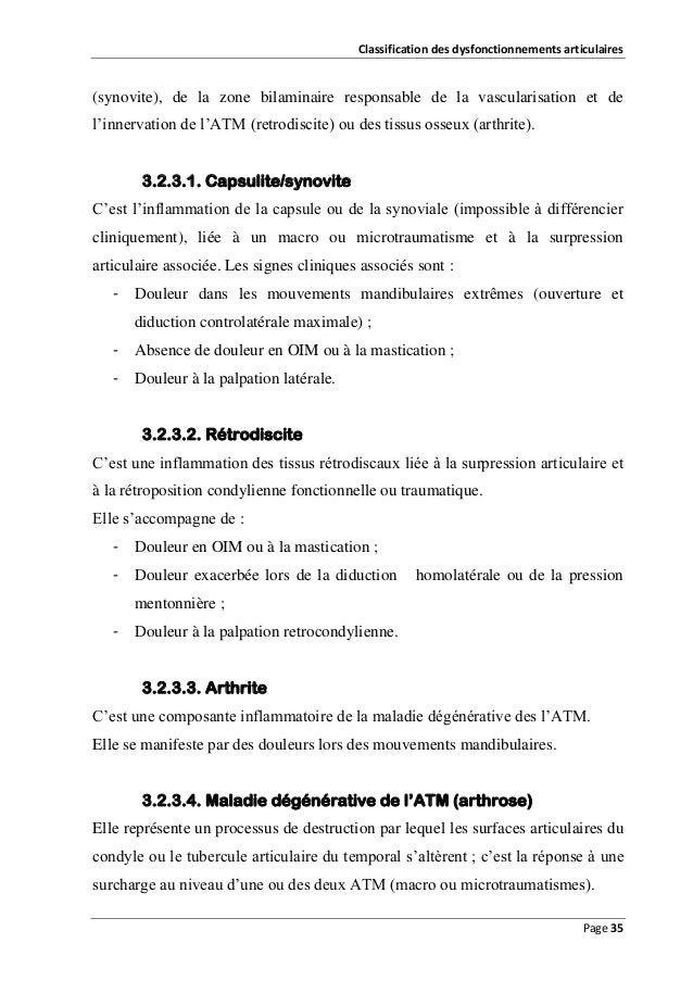 Classification des dysfonctionnements articulaires  (synovite), de la zone bilaminaire responsable de la vascularisation e...