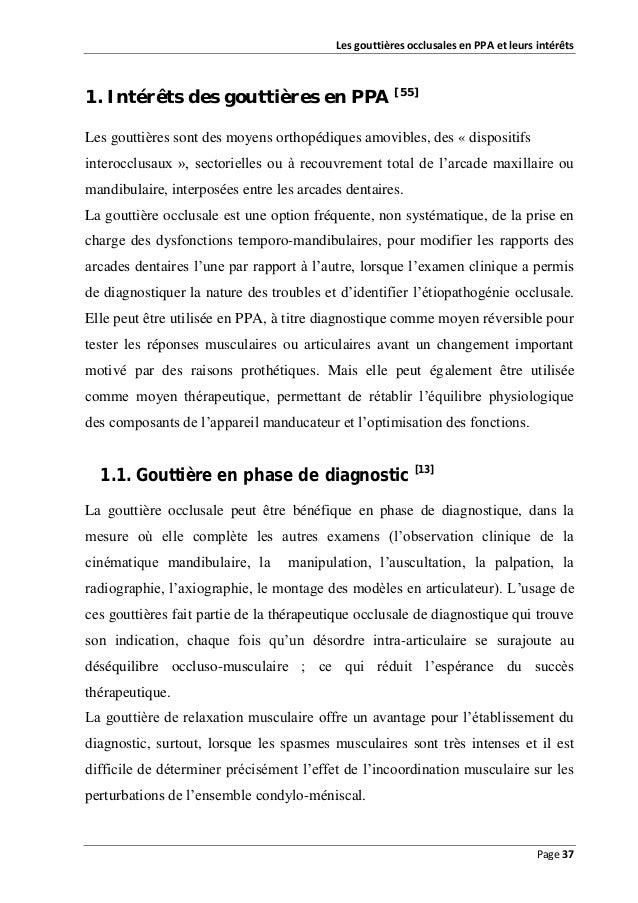 Les gouttières occlusales en PPA et leurs intérêts  1. Intérêts des gouttières en PPA [55] Les gouttières sont des moyens ...
