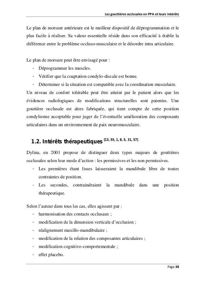 Les gouttières occlusales en PPA et leurs intérêts  Le plan de morsure antérieure est le meilleur dispositif de déprogramm...