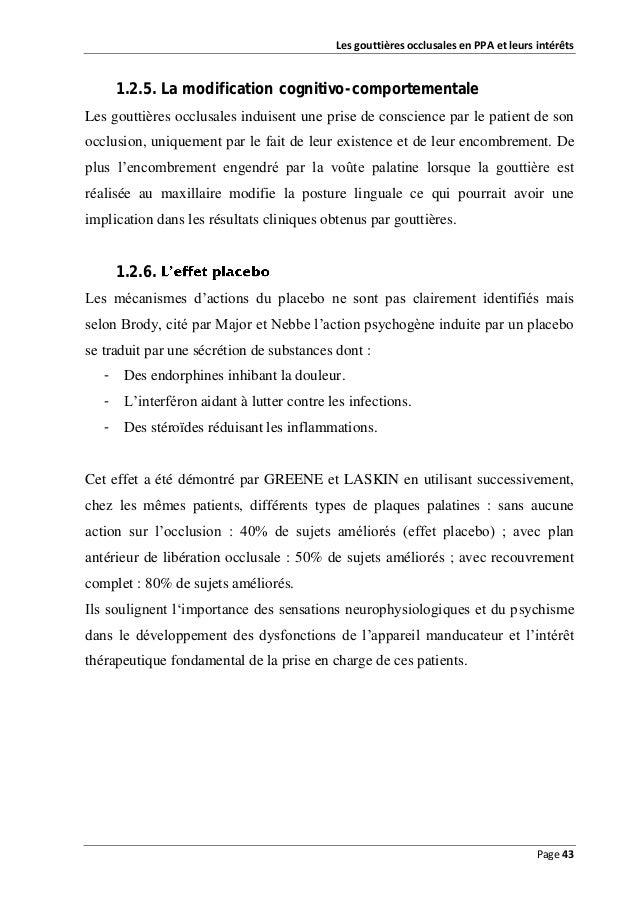Les gouttières occlusales en PPA et leurs intérêts  1.2.5. La modification cognitivo-comportementale Les gouttières occlus...