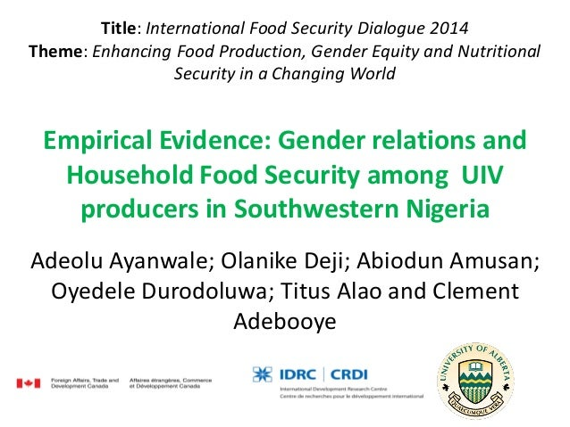 Title: International Food Security Dialogue 2014 Theme: Enhancing Food Production, Gender Equity and Nutritional Security ...