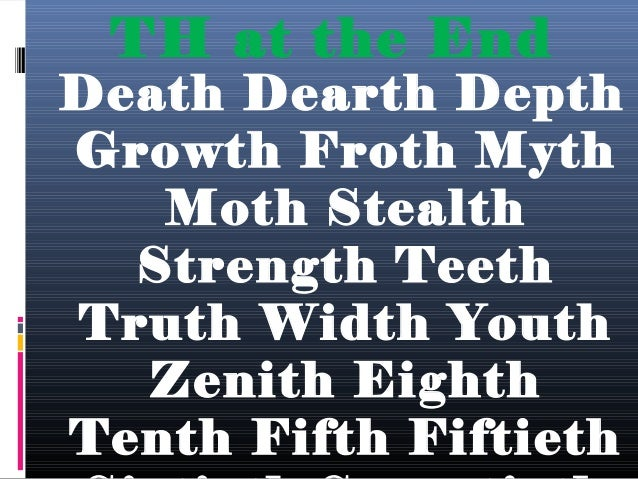Middle of the word  Breathe Either Mother Father Other Brother Bother Netherland Bother Baths Bathing Bathe Although Feath...