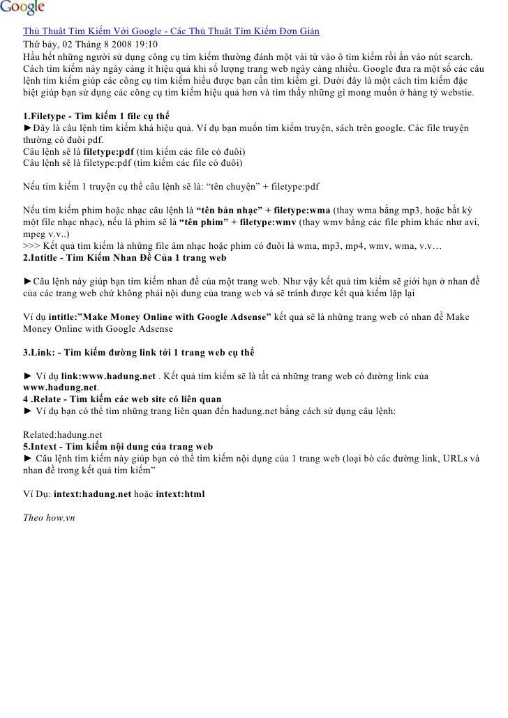 Thủ Thuật Tìm Kiếm Với Google - Các Thủ Thuật Tìm Kiếm Đơn Giản Thứ bảy, 02 Tháng 8 2008 19:10 Hầu hết những người sử dụng...
