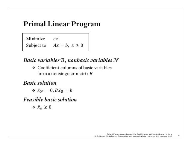 Dual simplex algorithm bounded variables