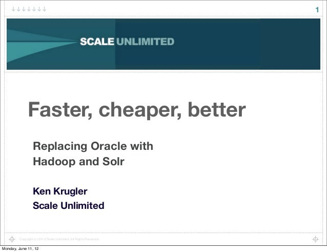 1              Faster, cheaper, better                  Replacing Oracle with                  Hadoop and Solr            ...