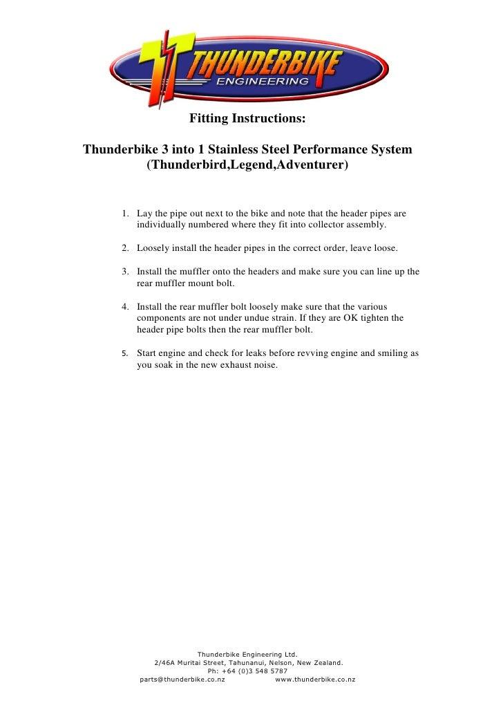 Fitting Instructions:Thunderbike 3 into 1 Stainless Steel Performance System         (Thunderbird,Legend,Adventurer)      ...