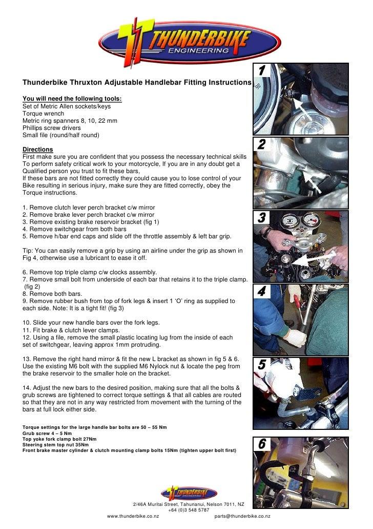 Thunderbike Thruxton Adjustable Handlebar Fitting InstructionsYou will need the following tools:Set of Metric Allen socket...