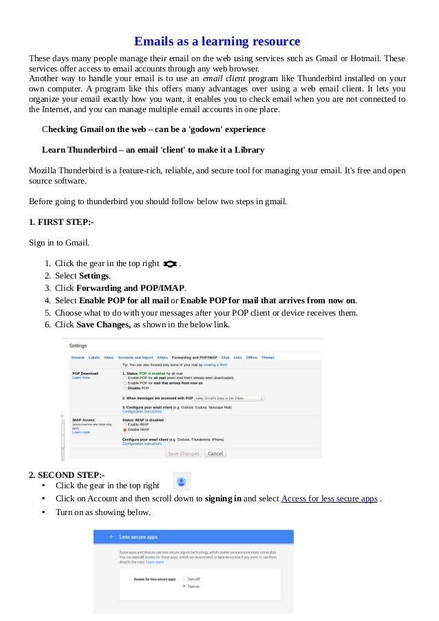 Thunderbird email configuration
