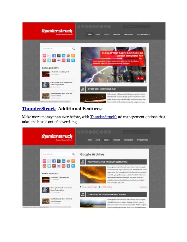 ThunderStruck Additional Features Make more money than ever before, with ThunderStruck's ad management options that takes ...