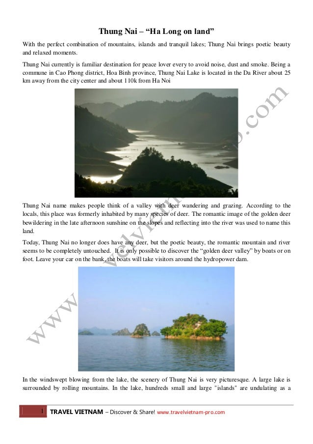 """Thung Nai – """"Ha Long on land"""" With the perfect combination of mountains, islands and tranquil lakes; Thung Nai brings poet..."""