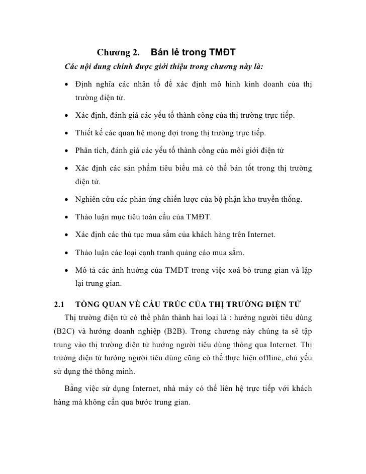 Bán lẻ trong TMĐT                Chương 2.       Các nội dung chính được giới thiệu trong chương này là:        • Định ngh...