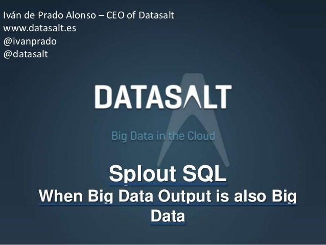 Iván de Prado Alonso – CEO of Datasaltwww.datasalt.es@ivanprado@datasalt                       Splout SQL       When Big D...