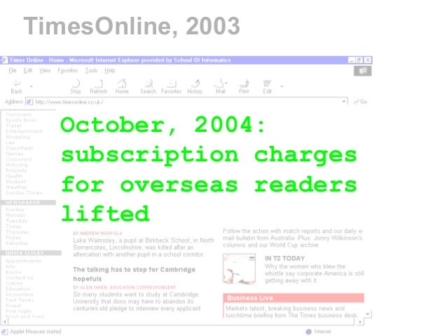 TimesOnline, 2003 October, 2004: subscription charges for overseas readers lifted